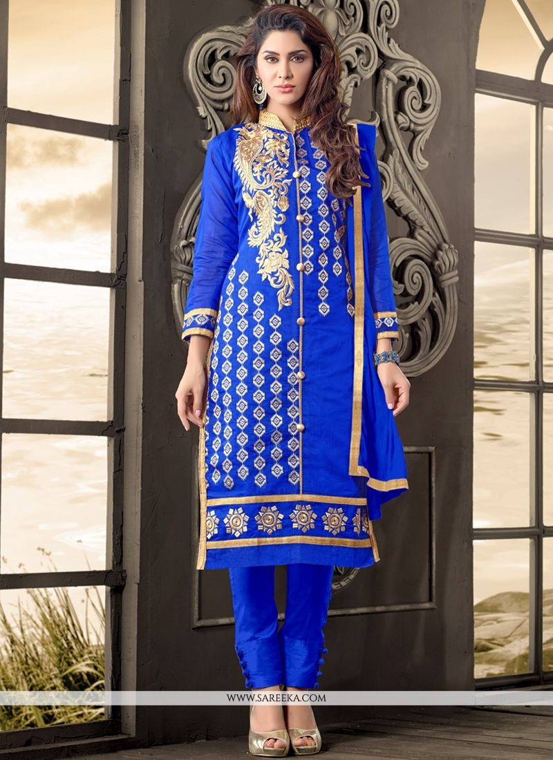 Cotton   Blue Salwar Kameez