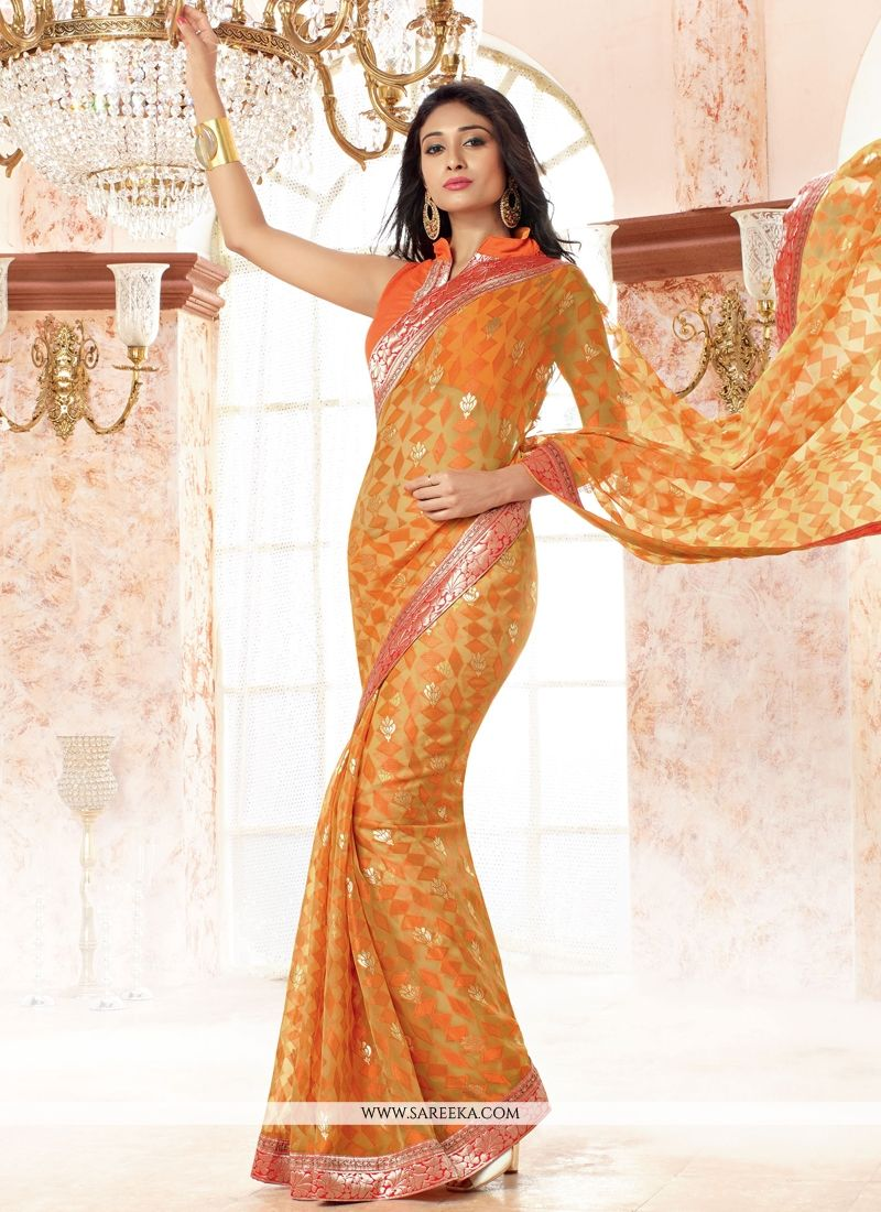 Faux Chiffon Orange Casual Saree