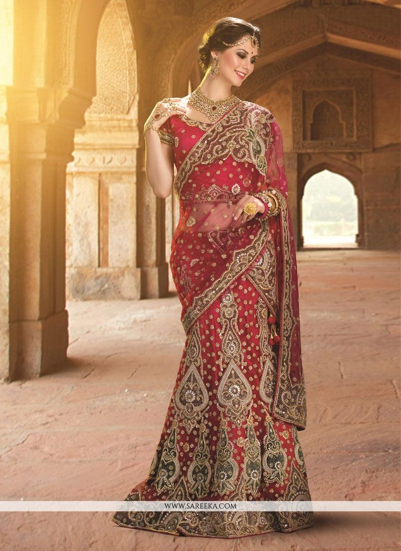 Net Red A Line Lehenga Choli