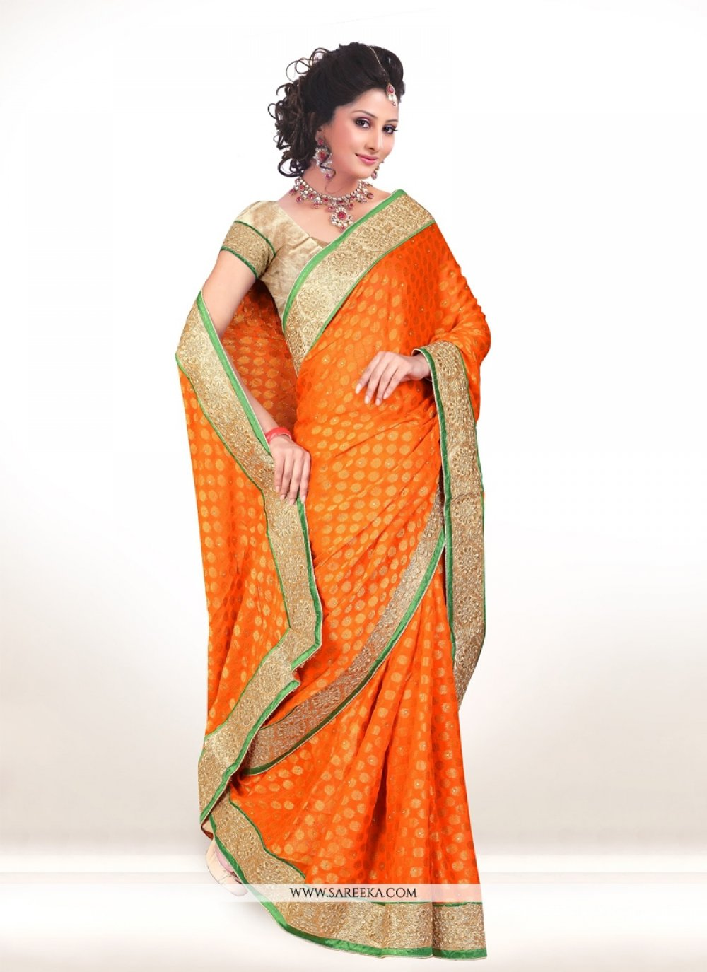 Orange Embroidered Work Viscose Designer Saree