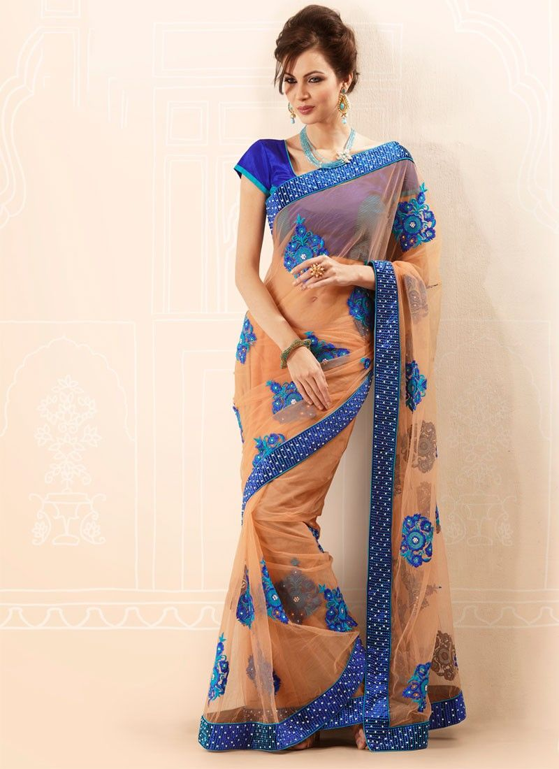 Peach Net Resham Glam Saree