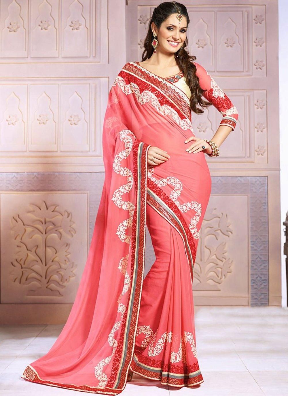 Pink Chiffon Wedding Saree