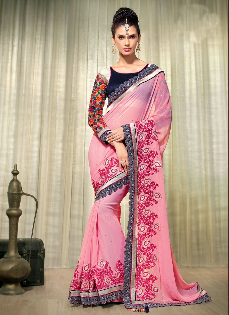 Pink Georgette Wedding Saree