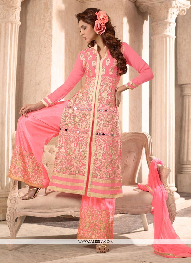 Resham Work Designer Palazzo Salwar Suit