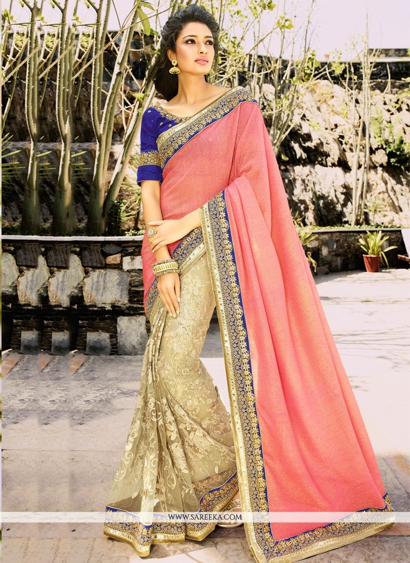 Beige and Hot Pink Cutdana Work Net Half N Half Designer Saree