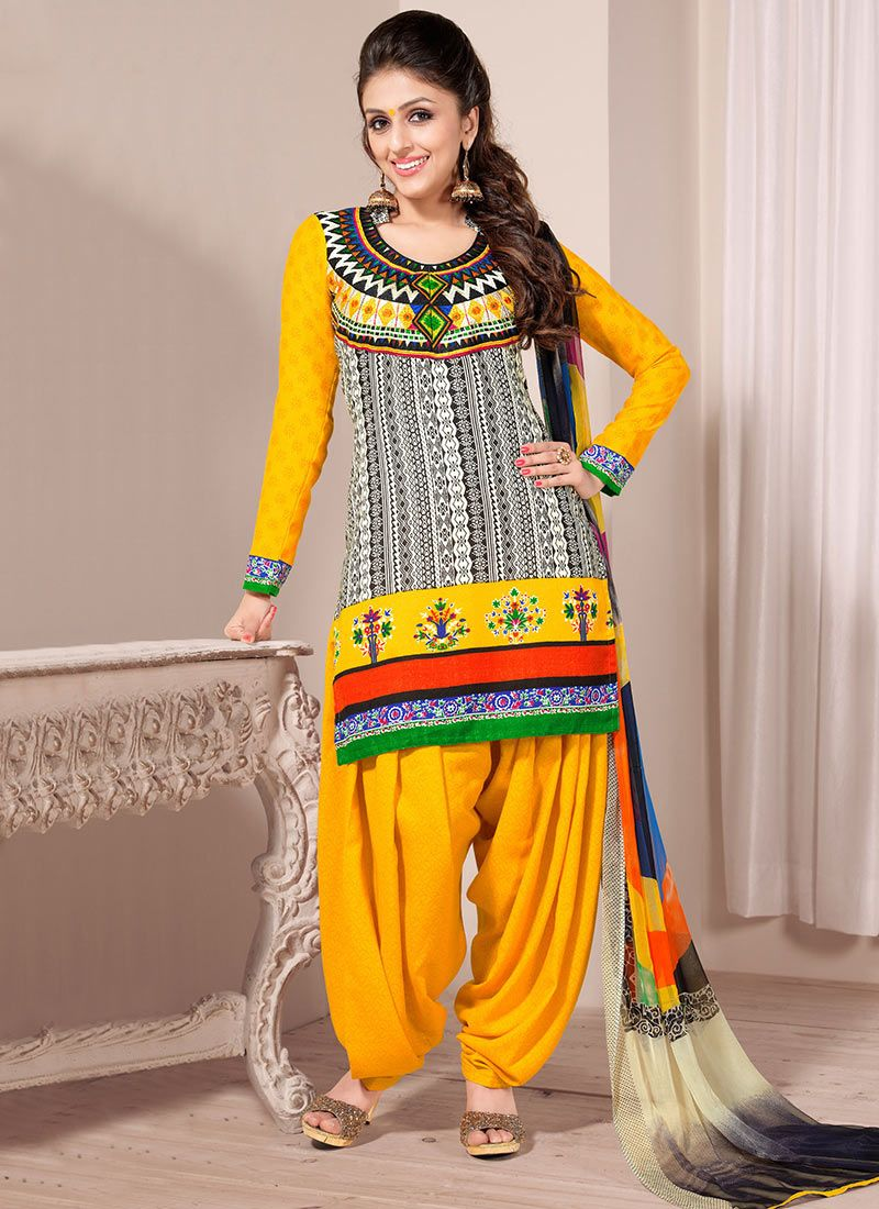 Beige And Mastard Creap Patiala Suit