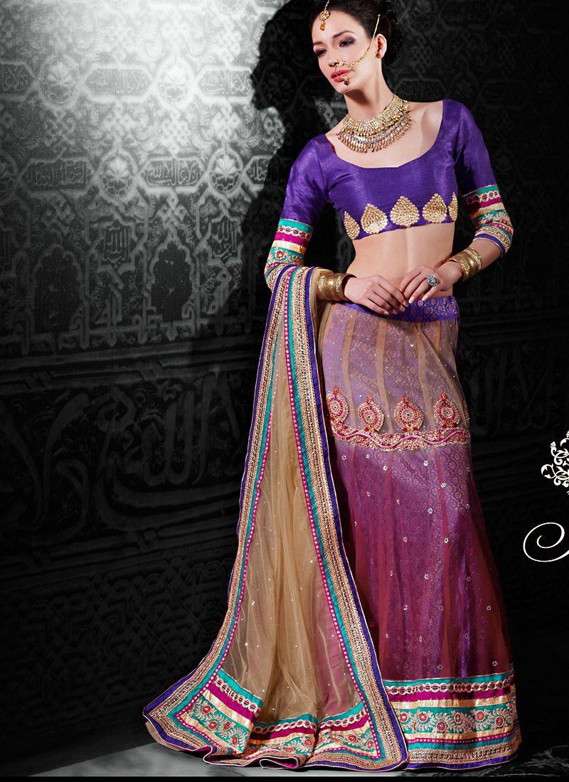 Beige And Rani Pink Net Lehenga Choli