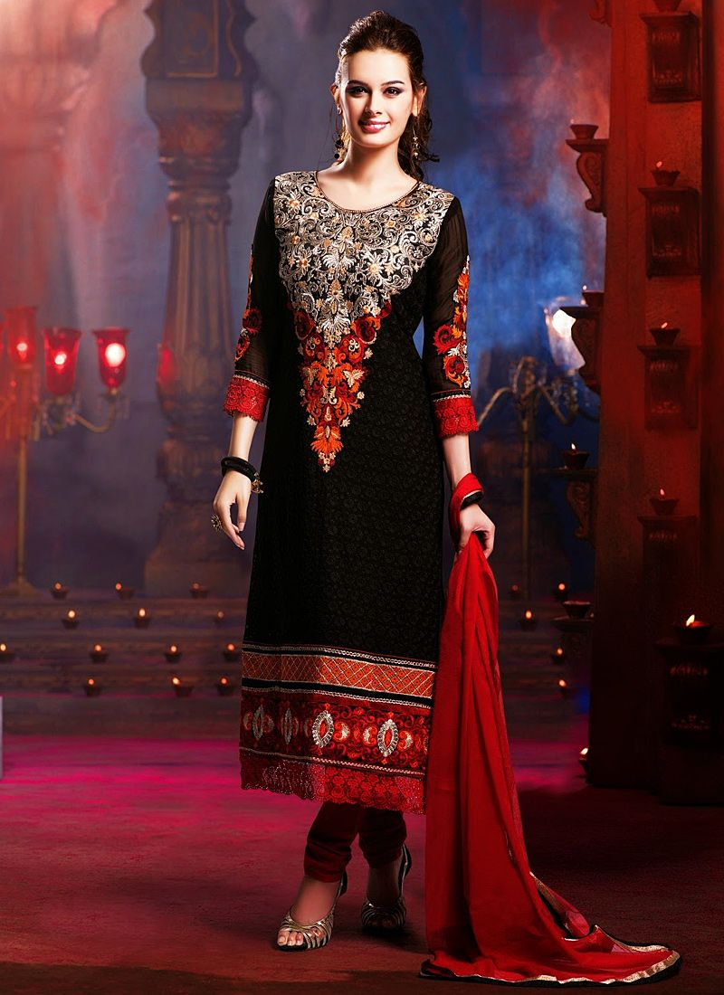 Black And Red Embroidery Work Churidar Suit