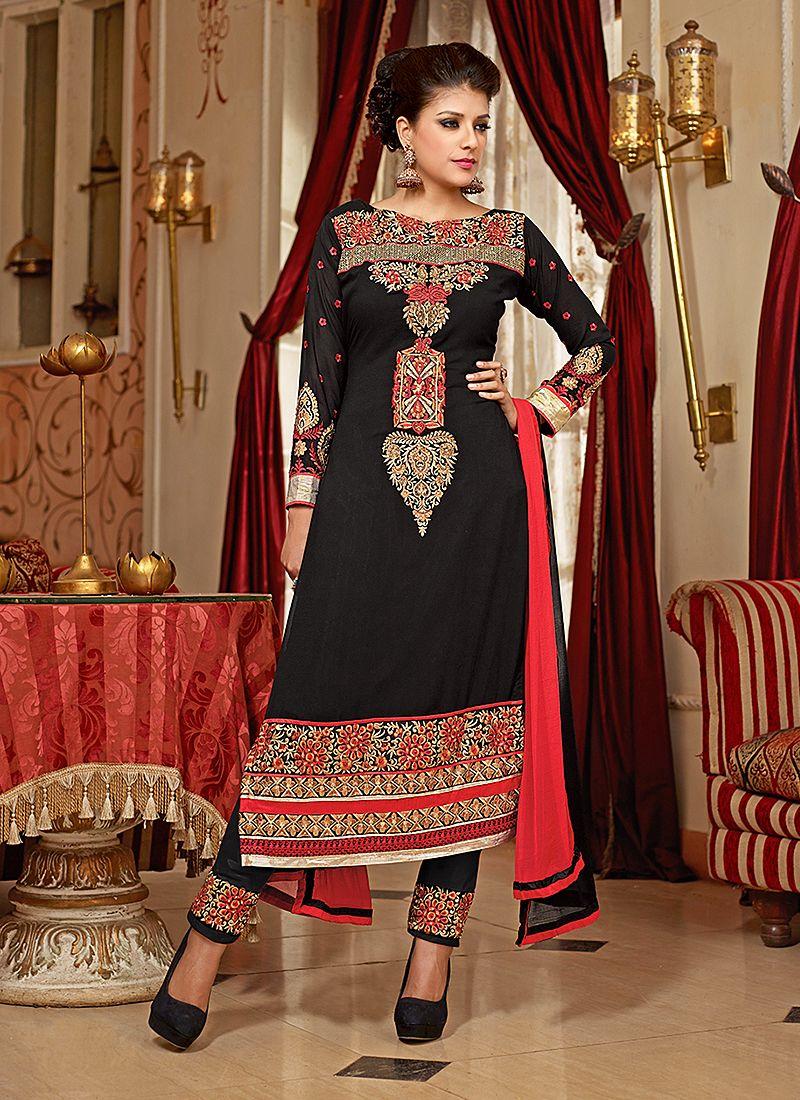 Black Embroidery Work Churidar Salwar Suit