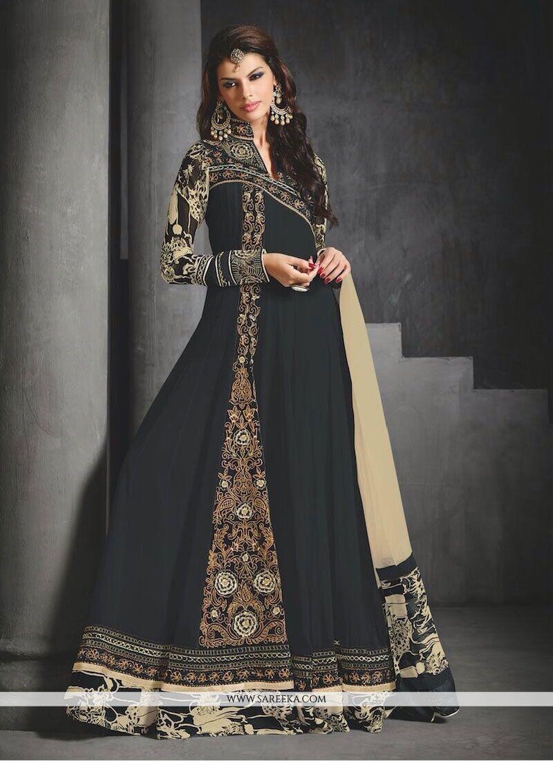 Black Embroidery Work Floor Lenght Anarkali Suit