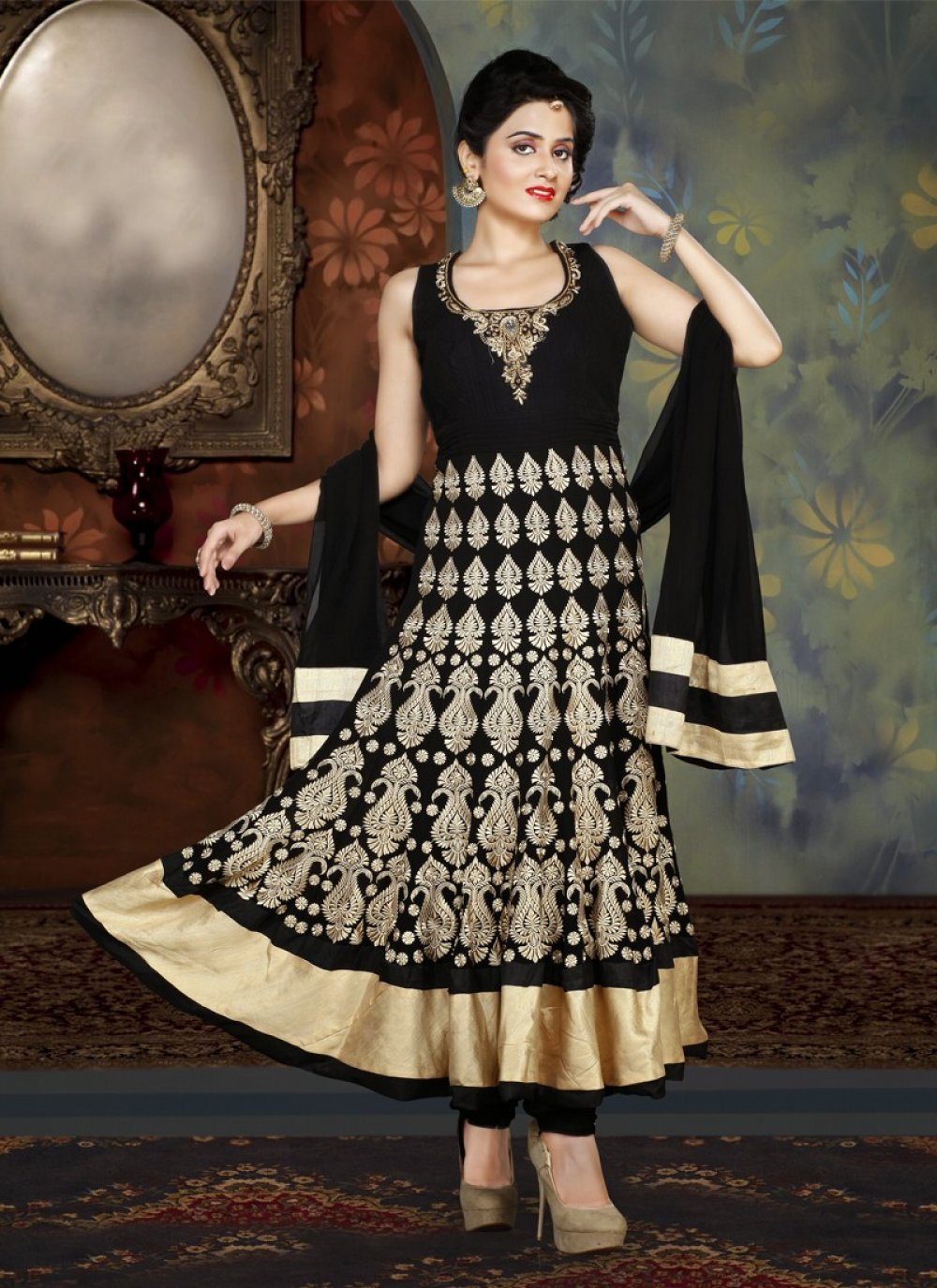 Black Resham Work Anarkali Salwar Suit