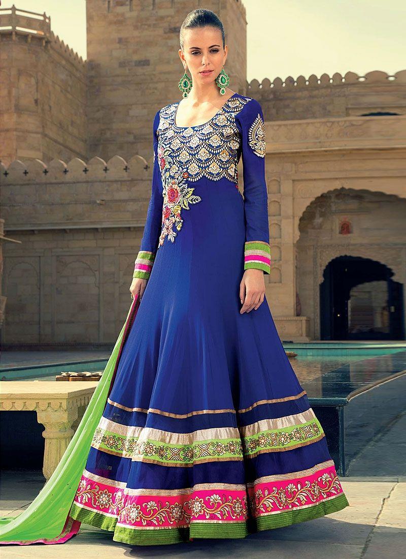 Blue Resham Work Georgette Anarkali Suit