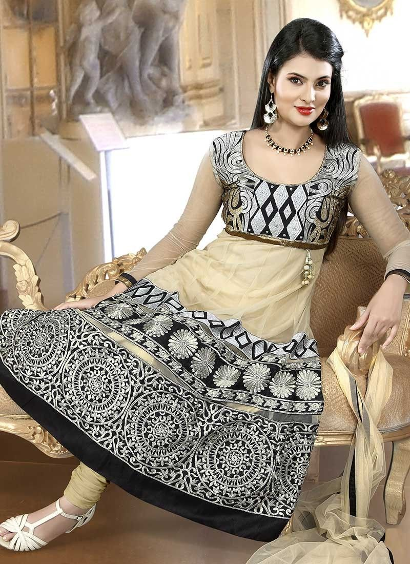 Cream Embroidered Net Anarkali Suit
