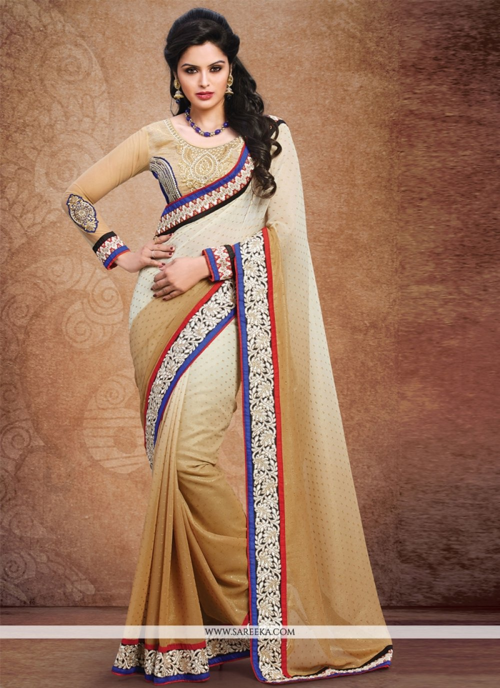 Georgette Resham Work Designer Saree