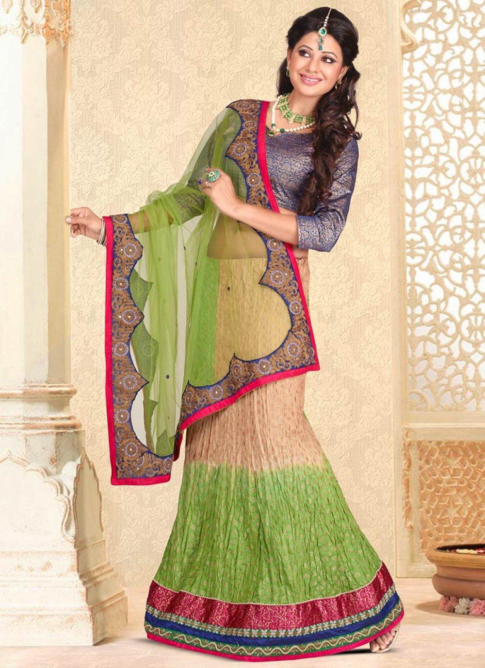 Green And Beige Net Lehenga Saree