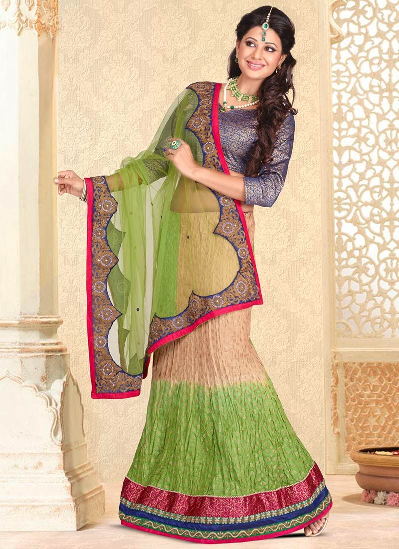 Green And Beige Net Lehenga Saree