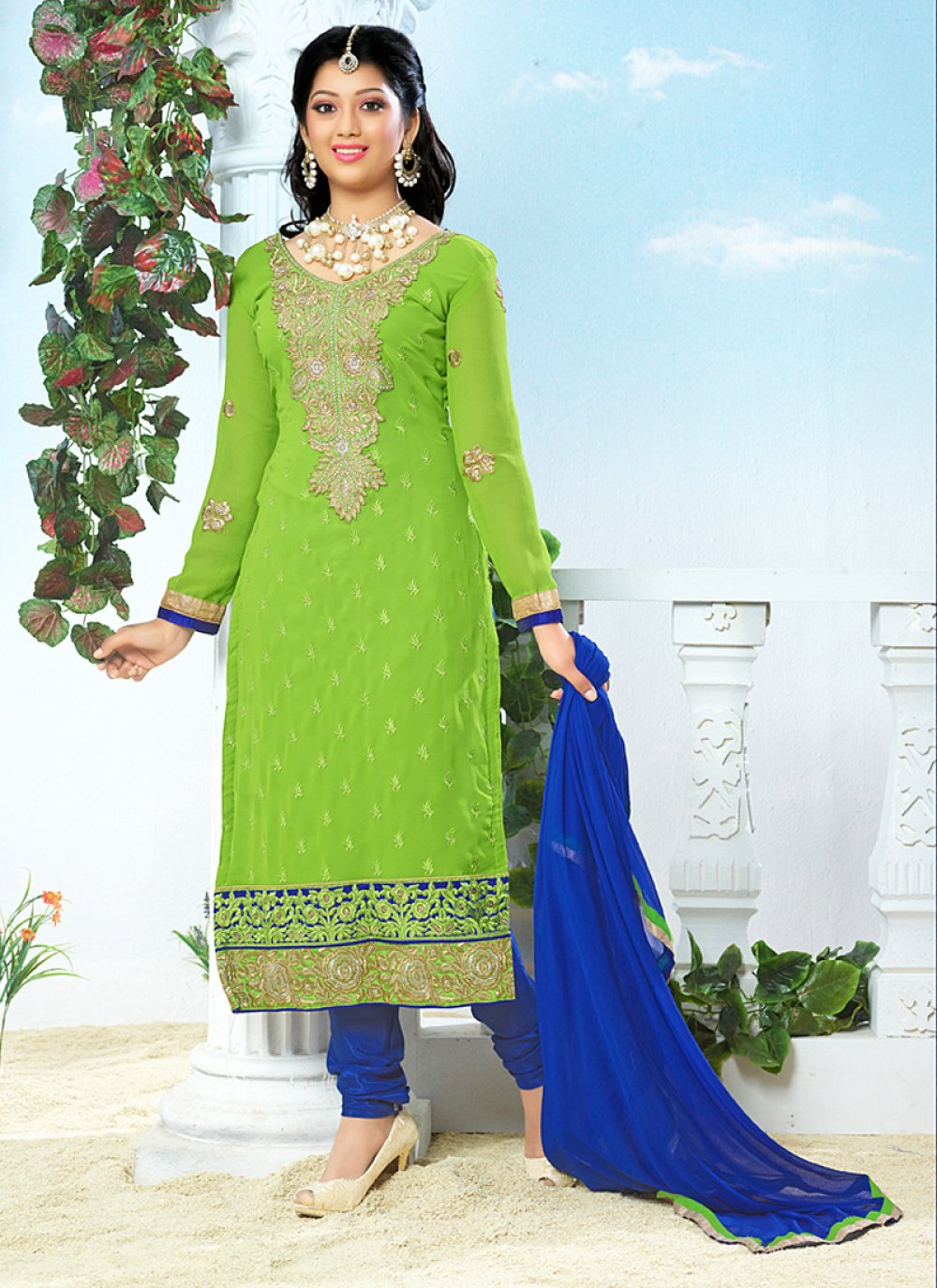 Green And Blue Embroidery Work Churidar Suit