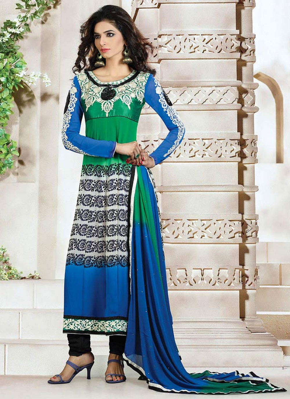Green And Blue Printed Churidar Suit