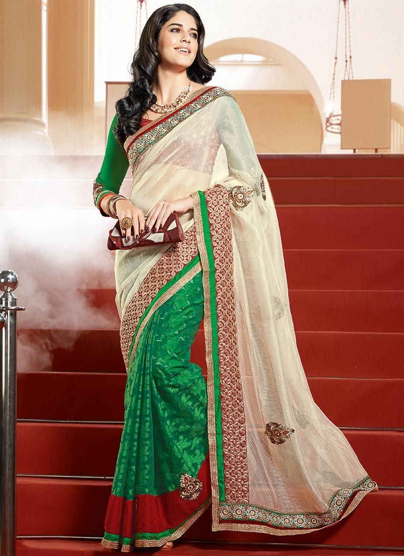 Green Embroidered Half And Half Saree