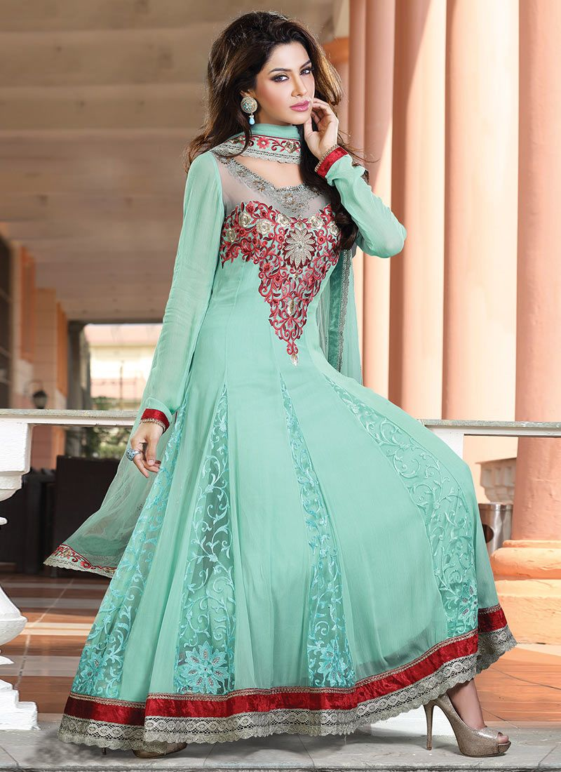 Green Resham Chiffon Anarkali Suit -