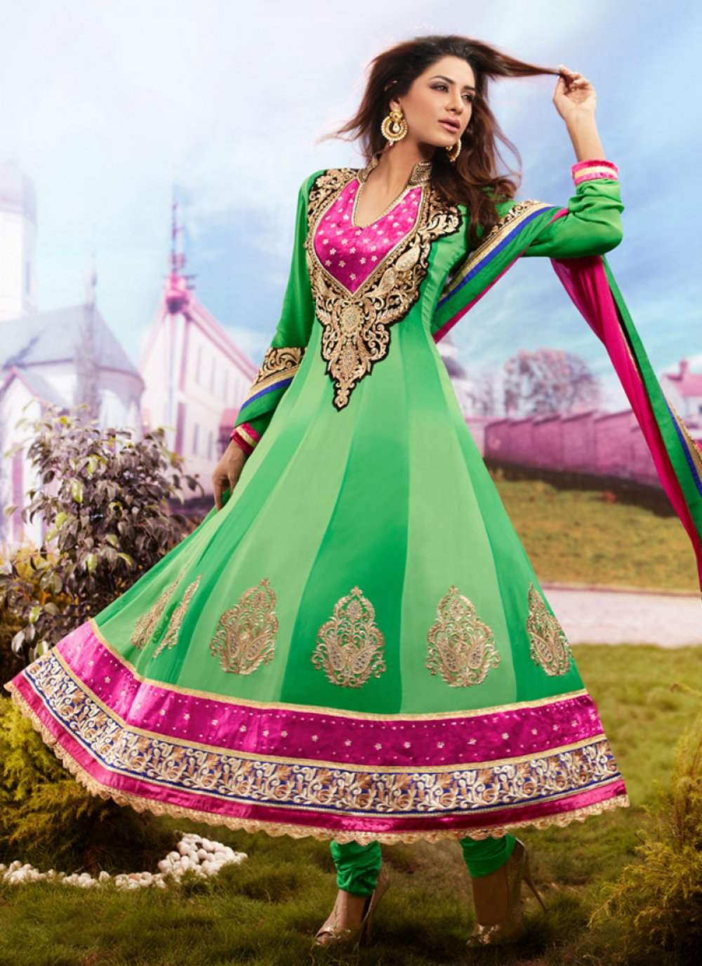 Green Stone Work Anarkali Suit