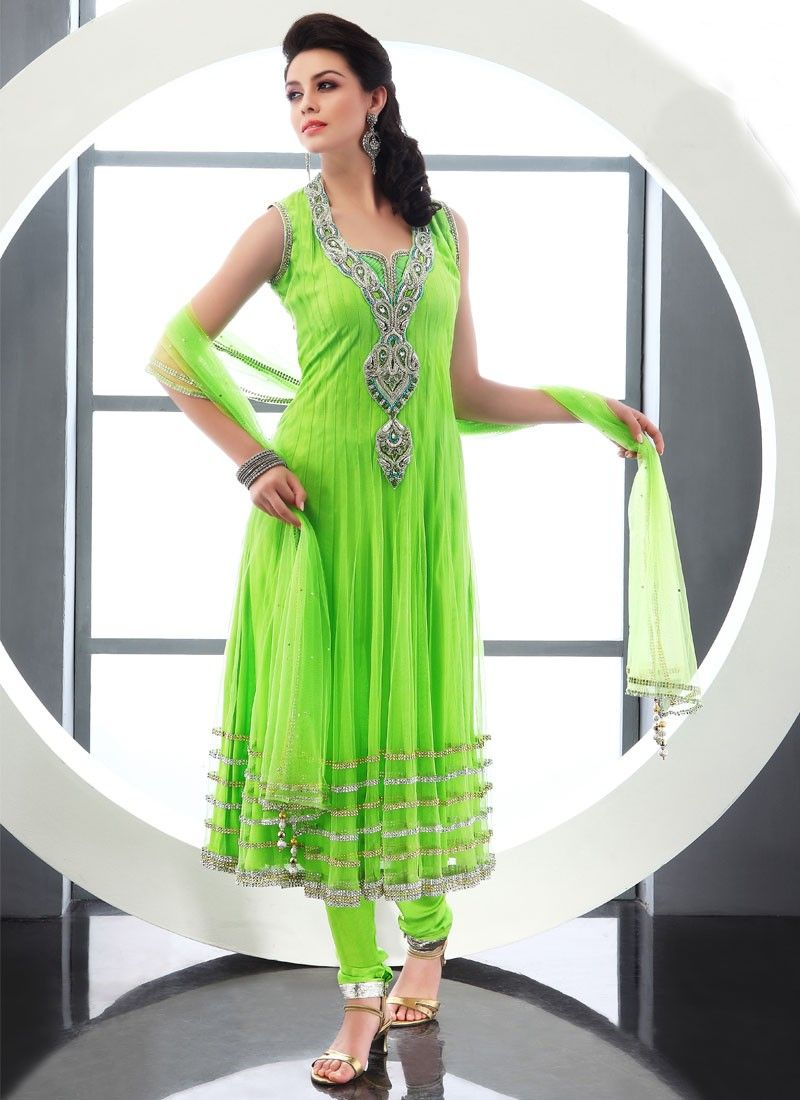 Lemon Green Net Anarkali Suit
