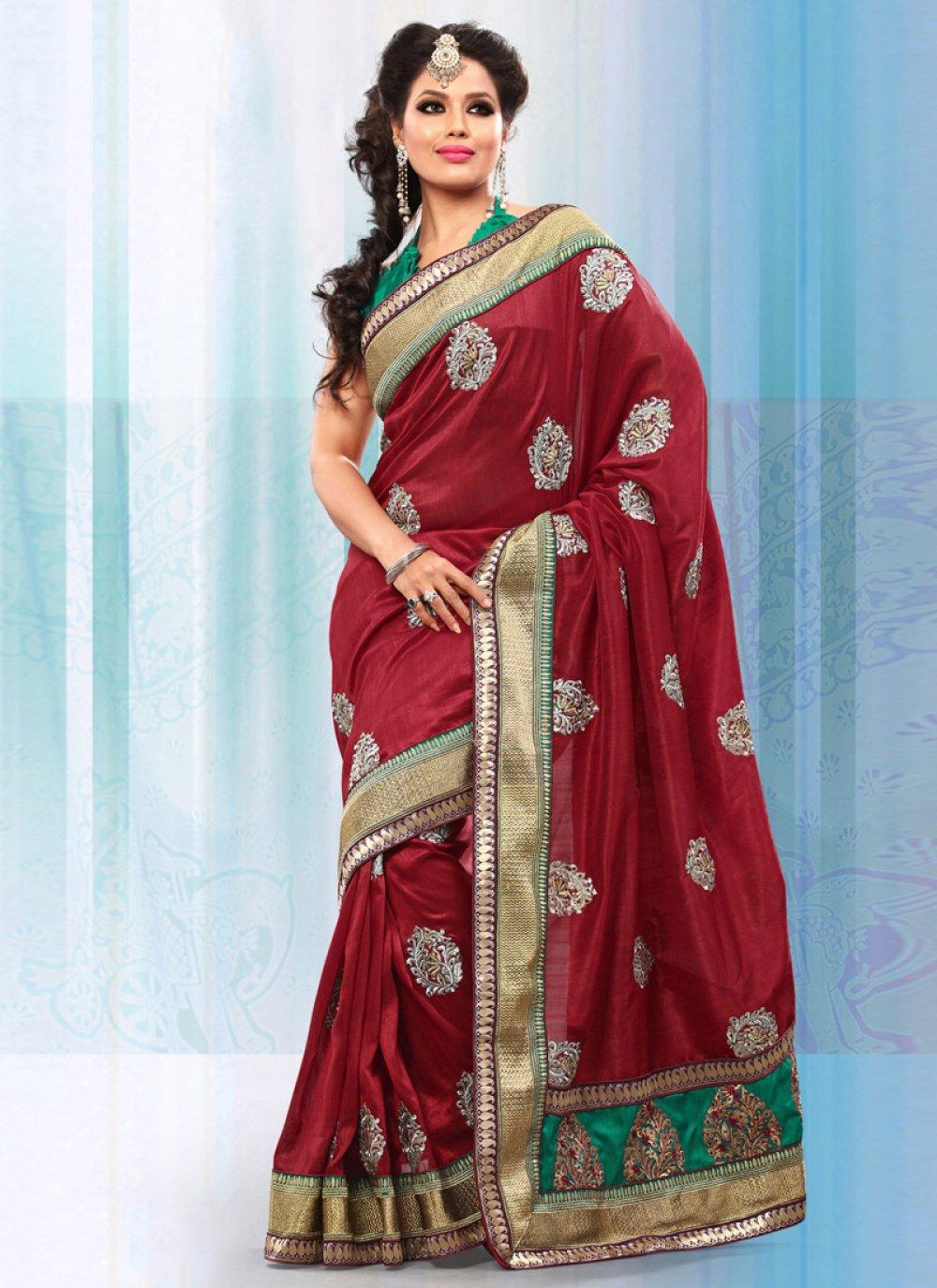 Maroon Art Bhagalpuri Silk Saree