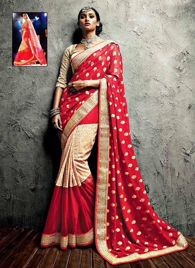Maroon Georgette IIFA Enhanced Border Designer Saree