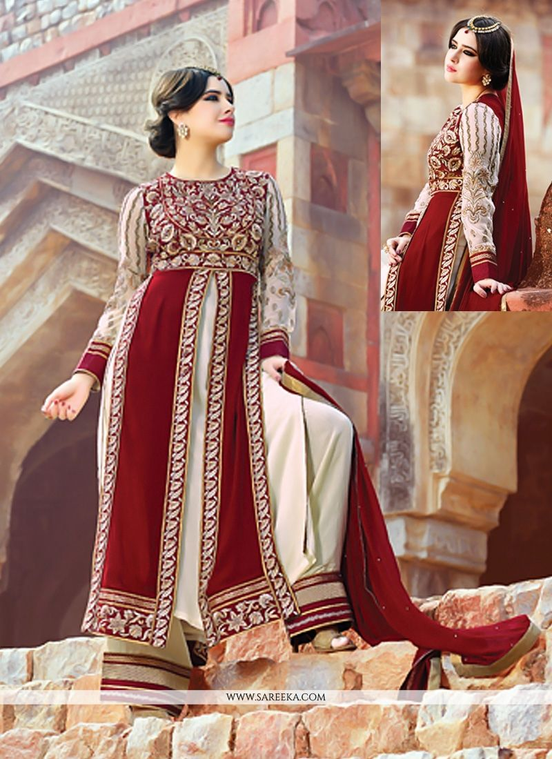 Maroon Pure Georgette Palazzo Suit
