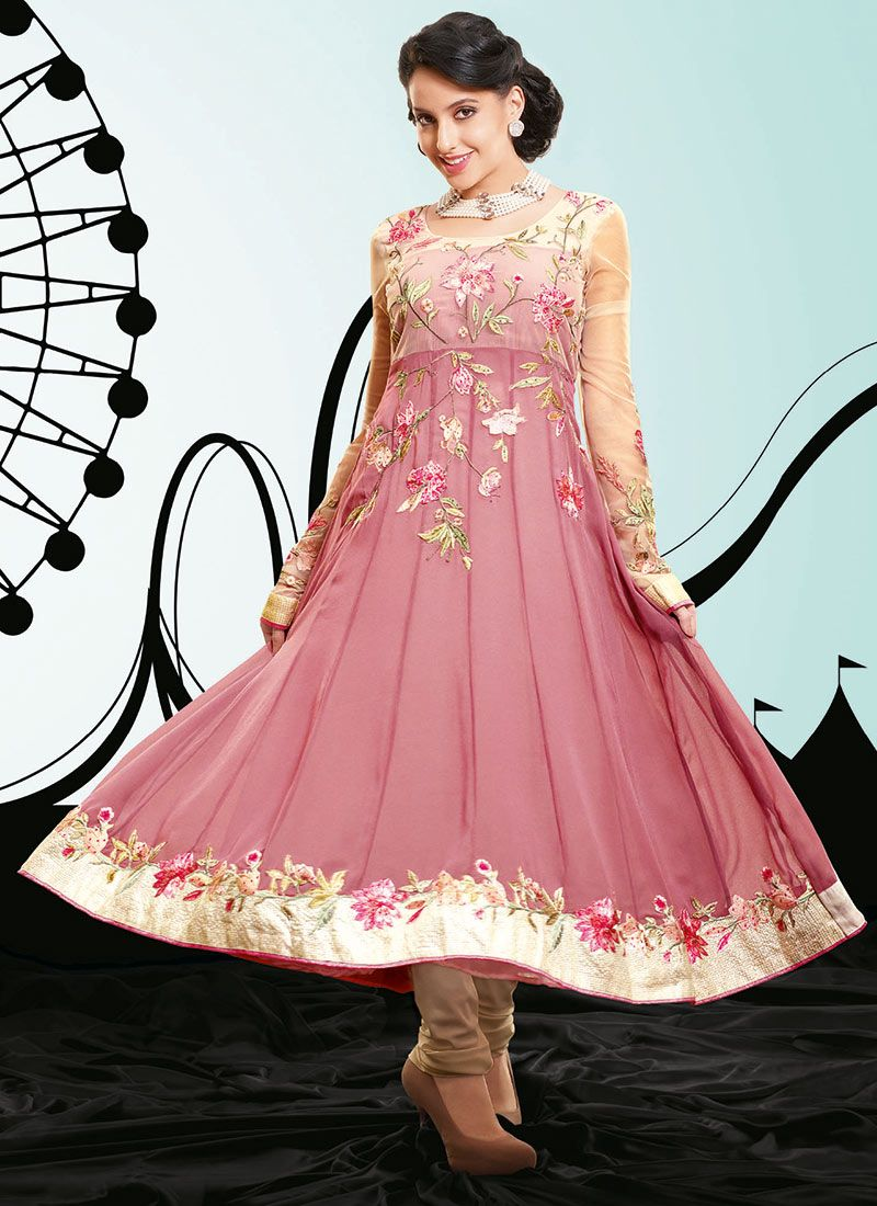 Mauve Georgette Anarkali Suit