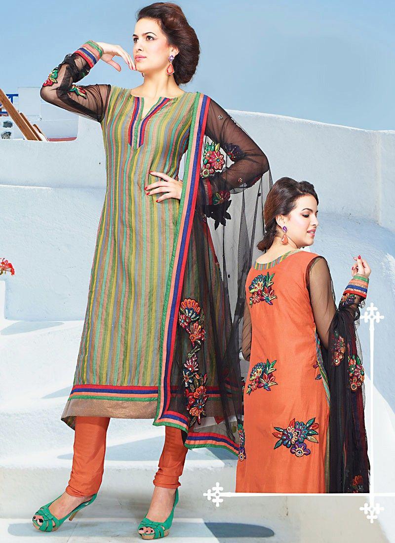 Multicolored Cotton Churidhar Suit