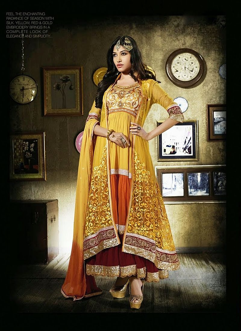 Mustard Embroidery Work Net Anarkali Suit