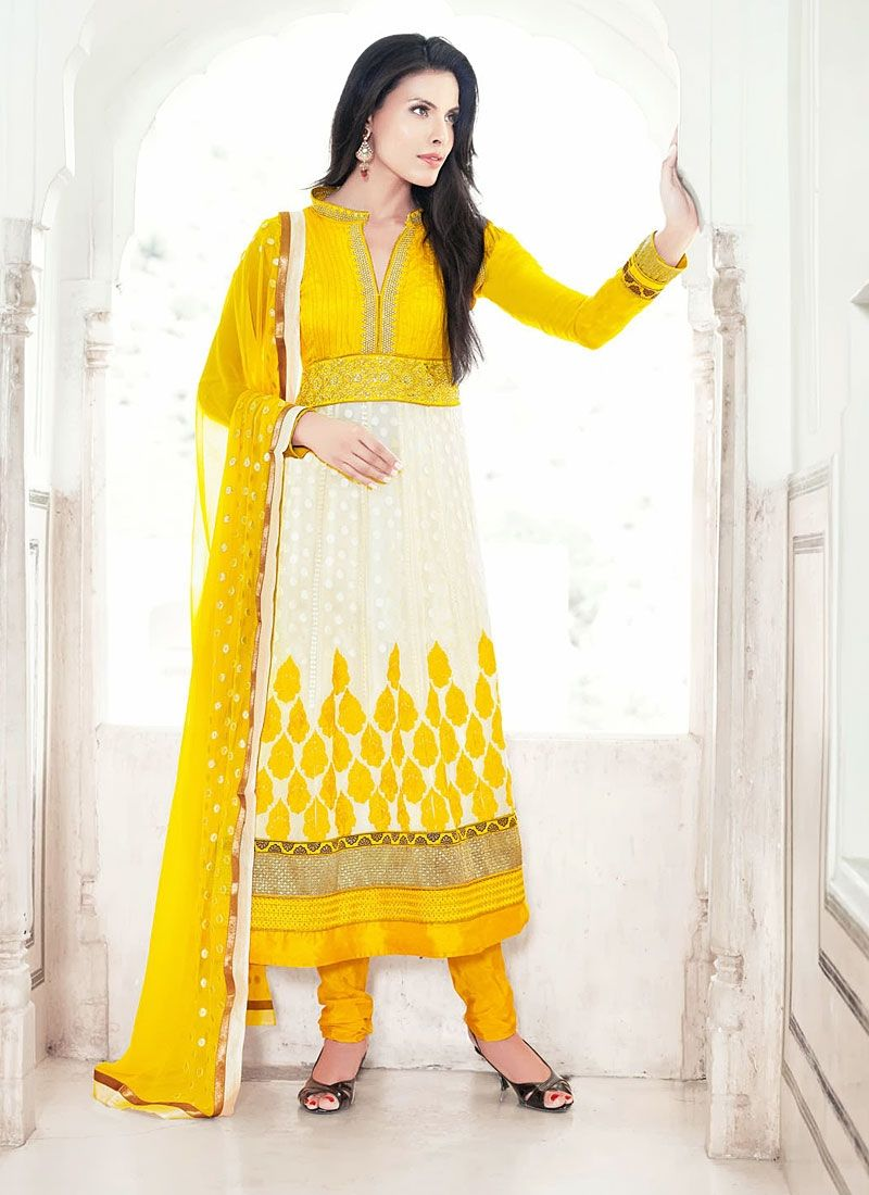 Off White And Yellow Georgette Chudidar Suit
