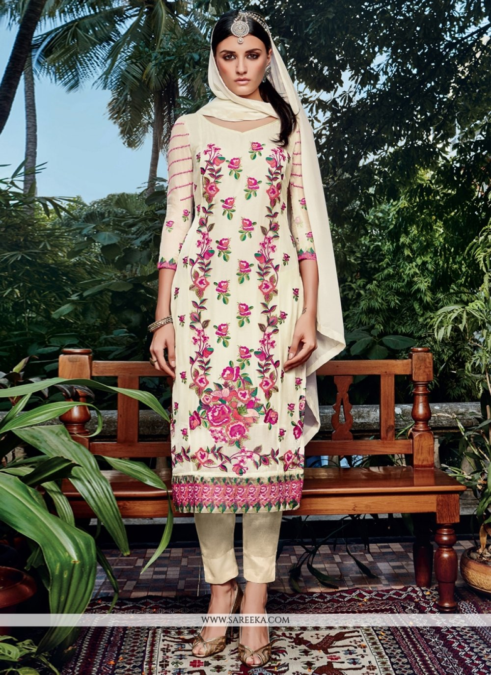 Off White Embroidered Work Georgette Pant Style Suit