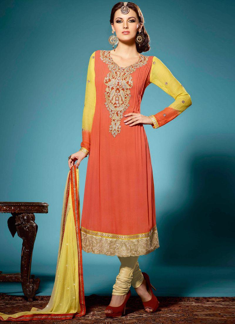 Orange Colour Stone Work Designer Suit -