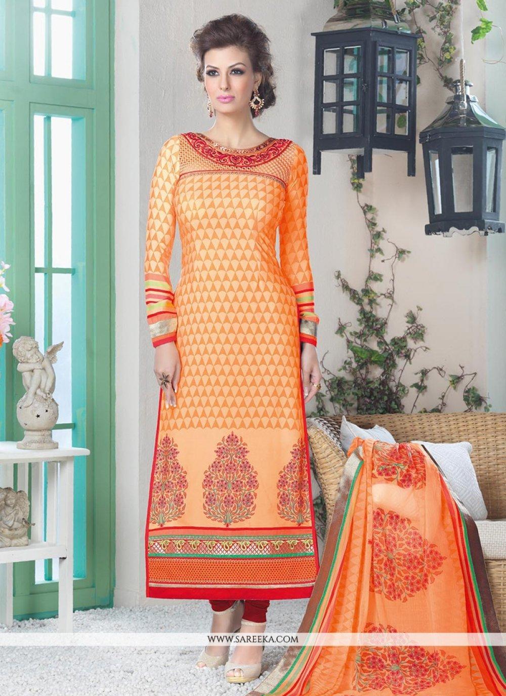 Orange Crepe Silk Churidar Suit