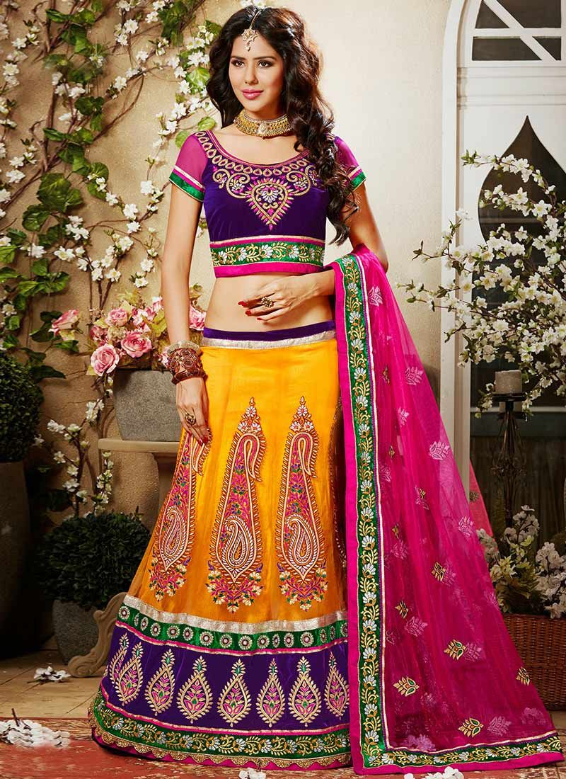 Orange Hemline And Net Lehenga Choli