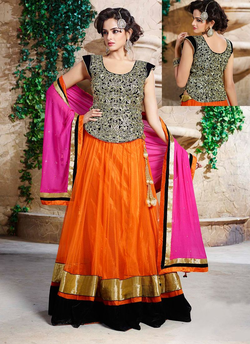 6a8cf78a59fe21 Orange Net Wedding Lehenga Choli -