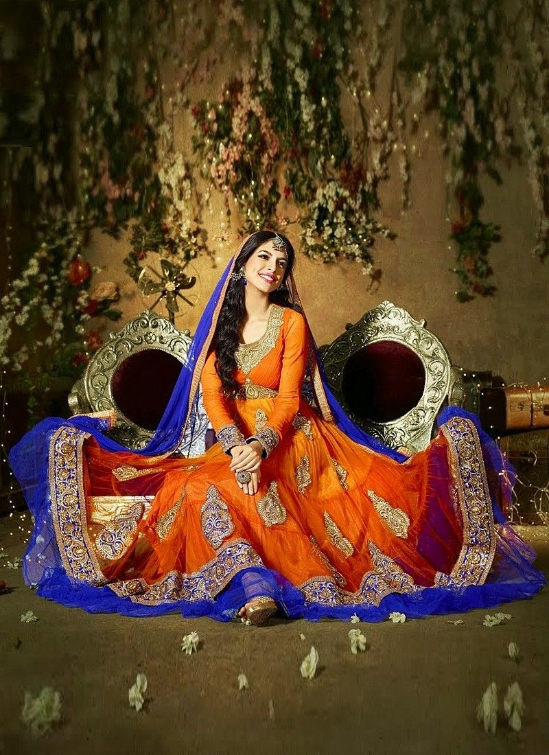 Orange Pure Georgette Anarkali Suit