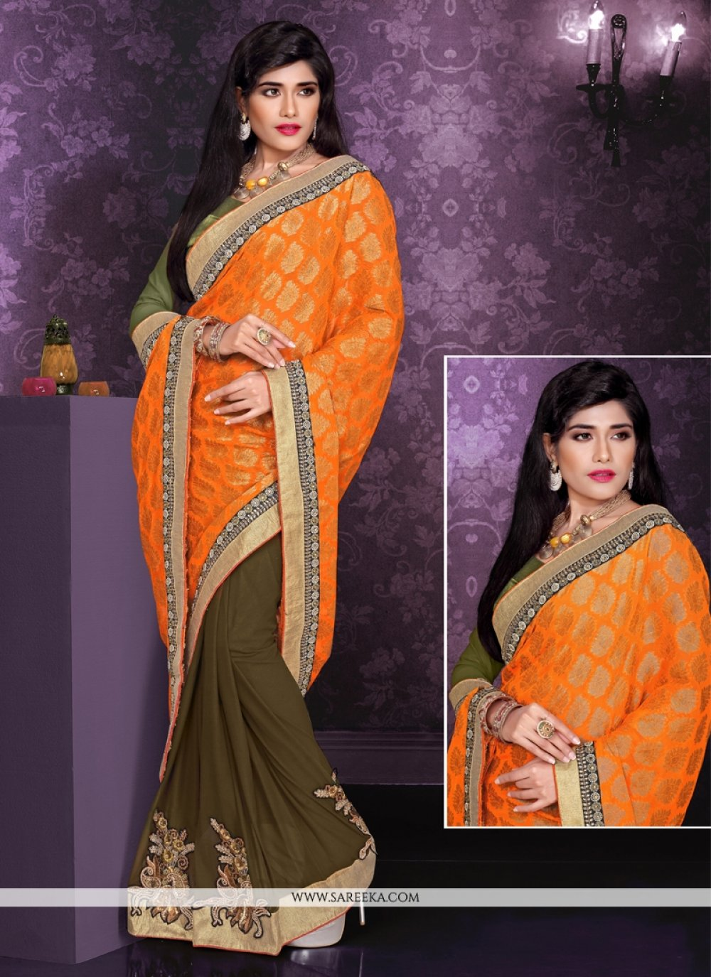 Orange Viscose And Georgette Saree