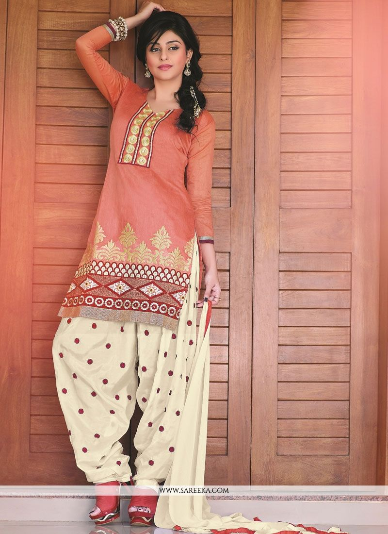 Peach Banarasi Jacquard Punjabi Suit