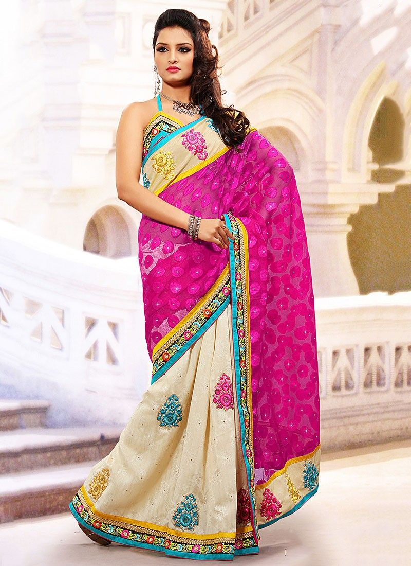 Pink And Beige Half And Half Saree