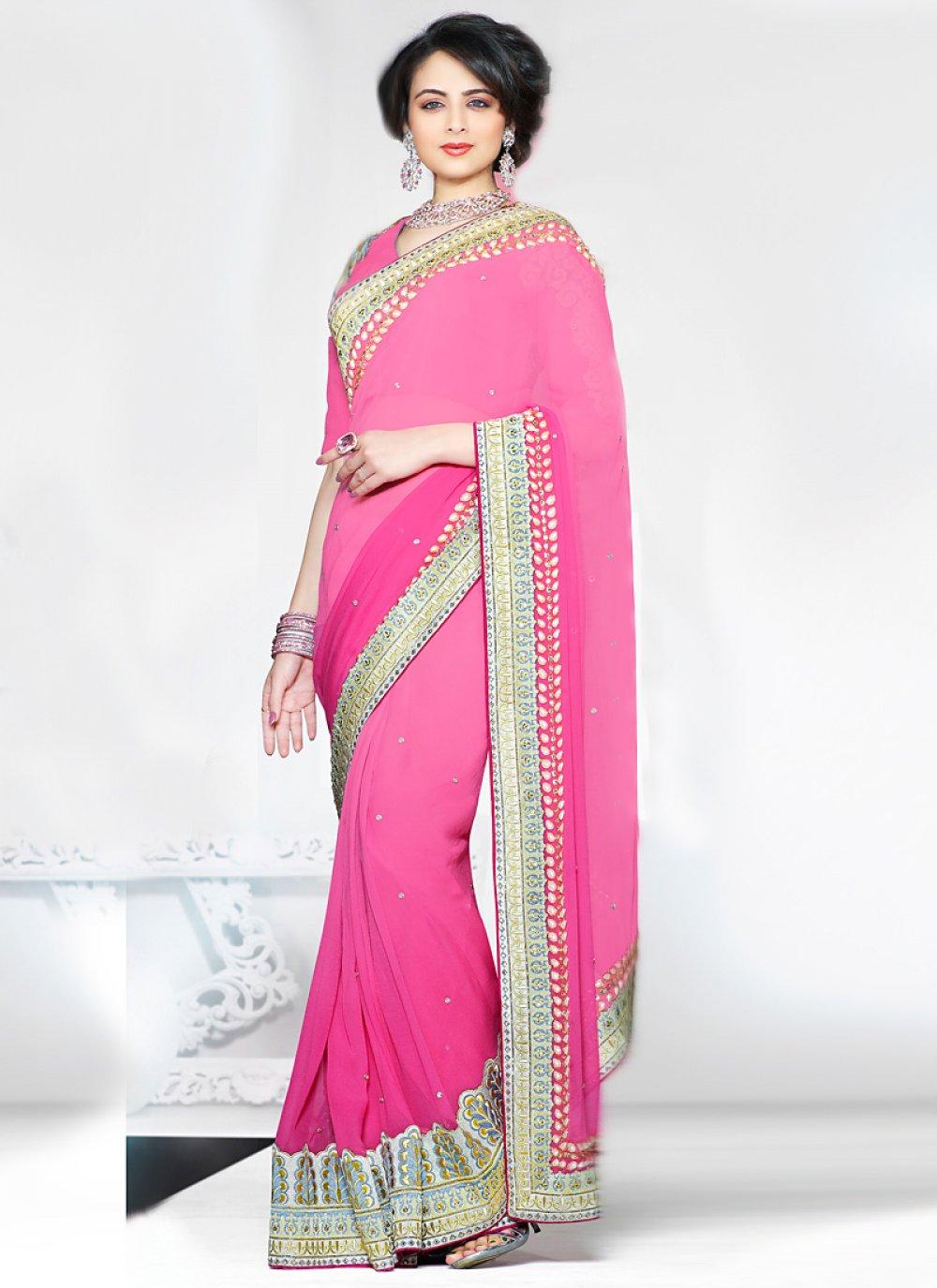 Pink Zari Enhanced Faux Georgette Saree