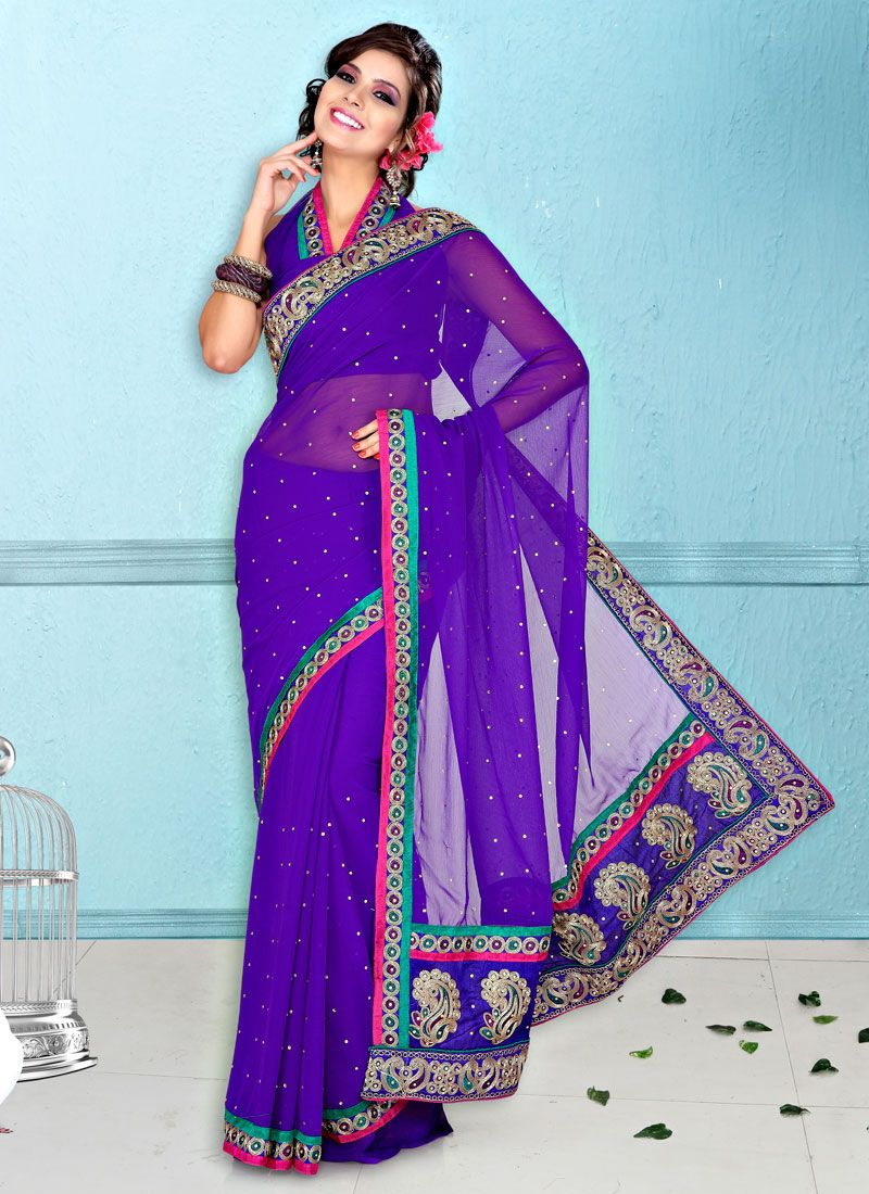 Purple Faux Chiffon Saree