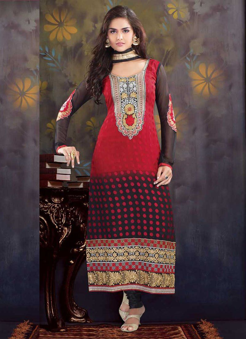 Red And Black Zari Brasso Churidar Suit