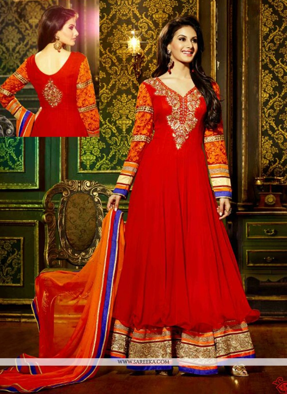 Red Georgette Anarkali Salwar Suit