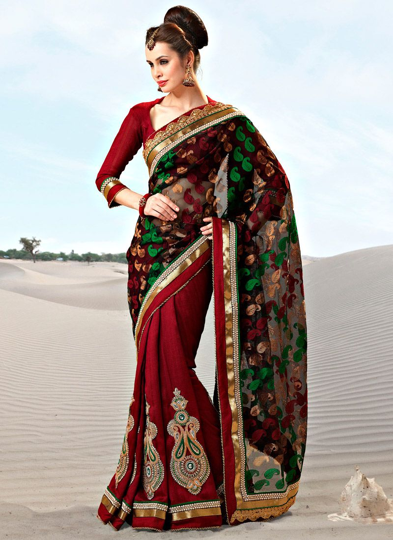 Red Georgette Half And Half Saree