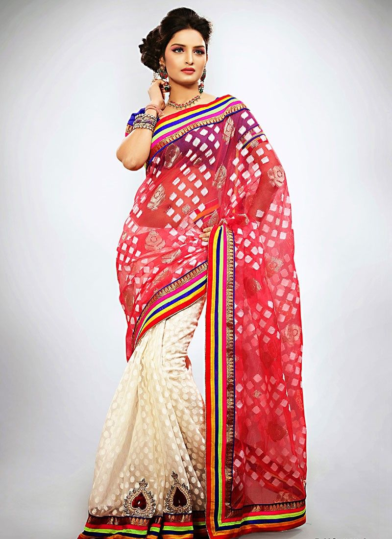 Red Jacquard Half And Half Saree