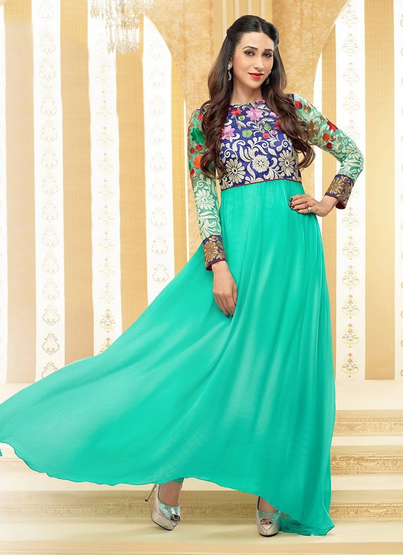 Turquoise Faux Georgette Embroidered Anarkali Suit