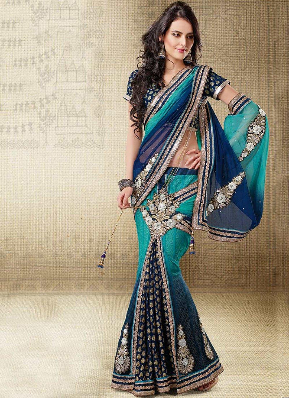Turquoise Ready Pleated Saree